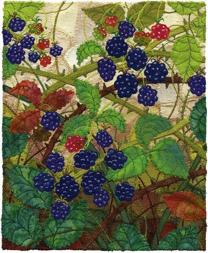 Almost Ripe, Blackberries by Kirsten's Fabric Art, via Flickr