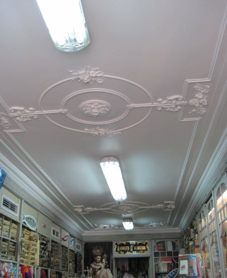The Liberty style stucco ceiling at the button shop