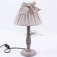 Lampada abatjour lume da tavolo legno e tessuto shabby chic ( 40-AD189)