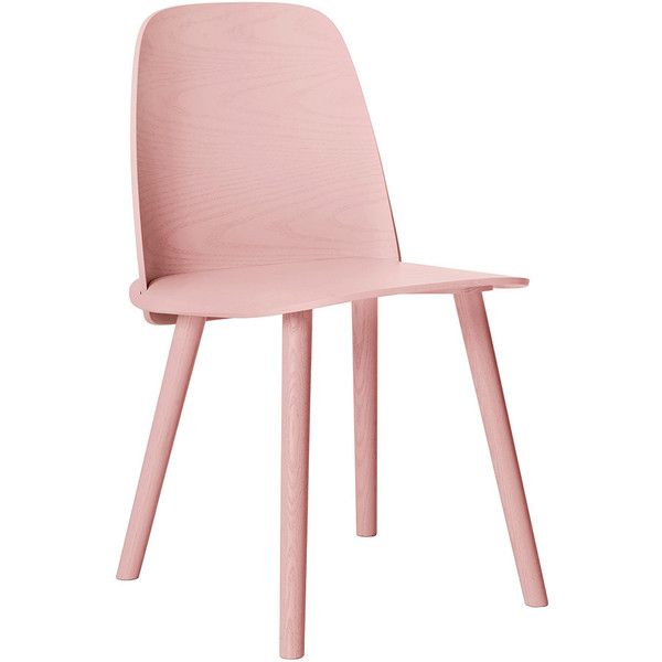 Muuto Nerd Chair - Rose found on Polyvore featuring home, furniture, chairs, accent chairs, pink, oak wood furniture, oak chairs, scandinavian chairs, oakwood furniture and pink accent chair