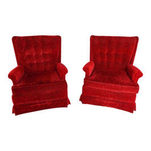 1970s Vintage Tufted Red Velvet Haute Swivel Rocker Lounge