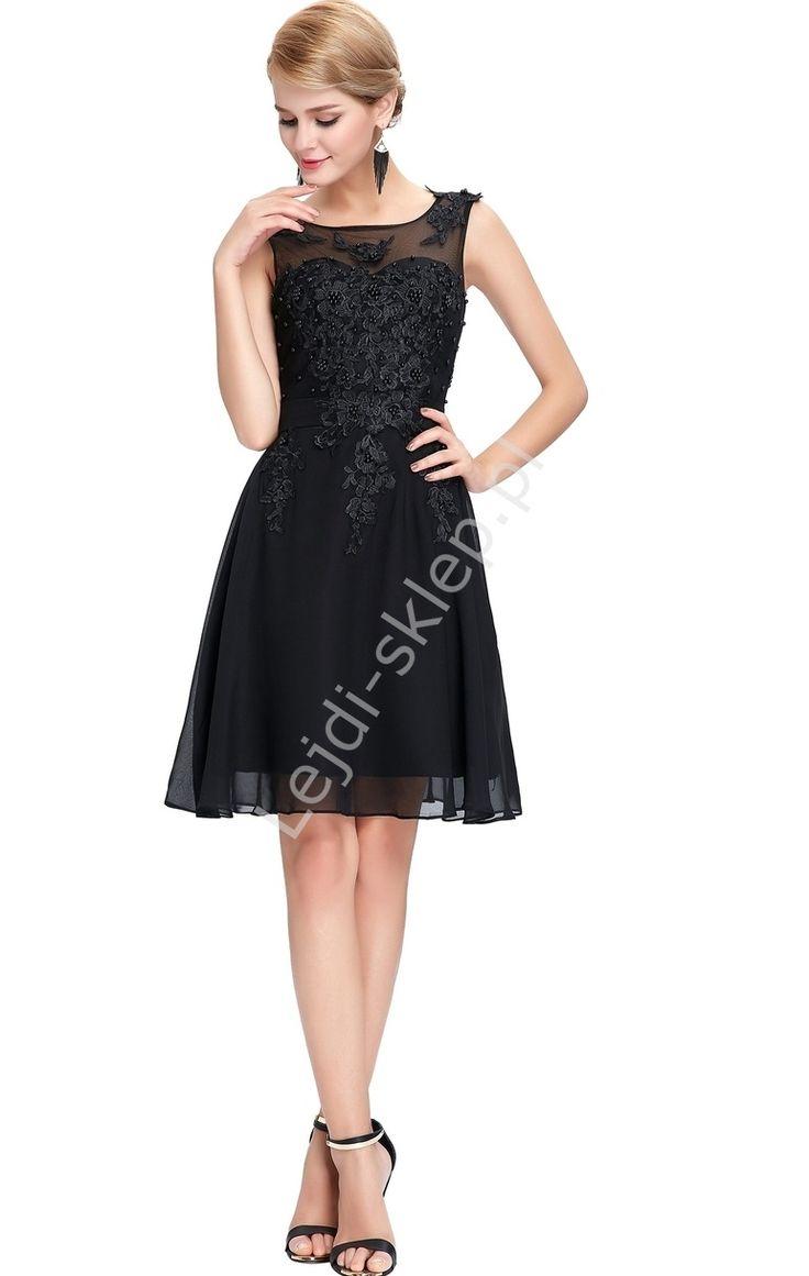 Czarna sukienka wieczorowa z koralami i gipiurą| czarne sukienki wieczorowe…