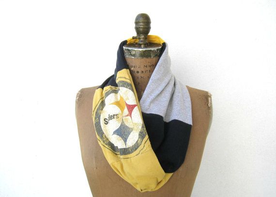 Pittsburgh Steelers T Shirt Infinity Scarf / Black Gold by ohzie