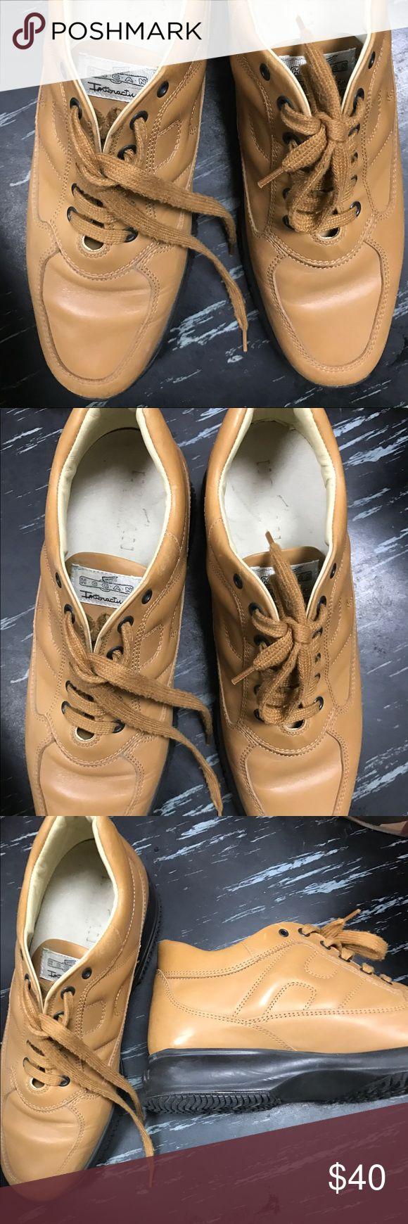 Hogan tan leather lace up sneakers Hogan camel leather lace sneakers Hogan Shoes Sneakers