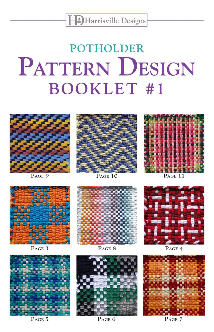 Potholder Pattern Booklet #1 Our first collection of new exciting designs with detailed instructions on how to weave them. You will discover that there are unlimited design possibilities with our simple potholder looms.