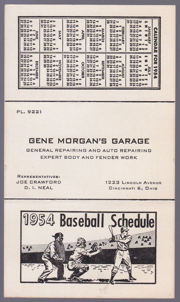 1954 CINCINNATI REDS GENE MORGAN GARAGE BASEBALL POCKET SCHEDULE EX+NM CONDITION #Schedule
