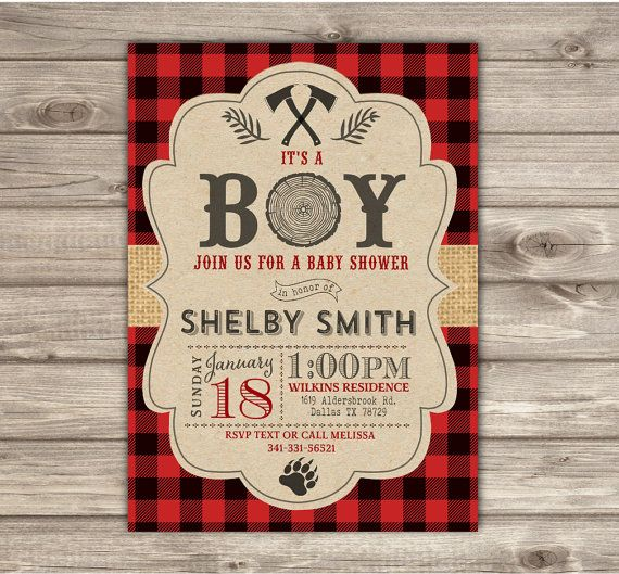 LumberJack Baby Shower Invitations Woodland Lumber jack Buffalo Plaid Outdoors Party forest Animals its a Boy Invitation Timber NV2137