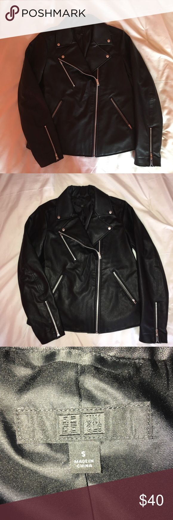 Faux Leather Jacket From their Fall 2017 collection, a black faux leather jacket. Women's size S. I'm a women's size XS and I feel this fits me too big for my taste. If you're a true size S or 4, this'll look great Uniqlo Jackets & Coats