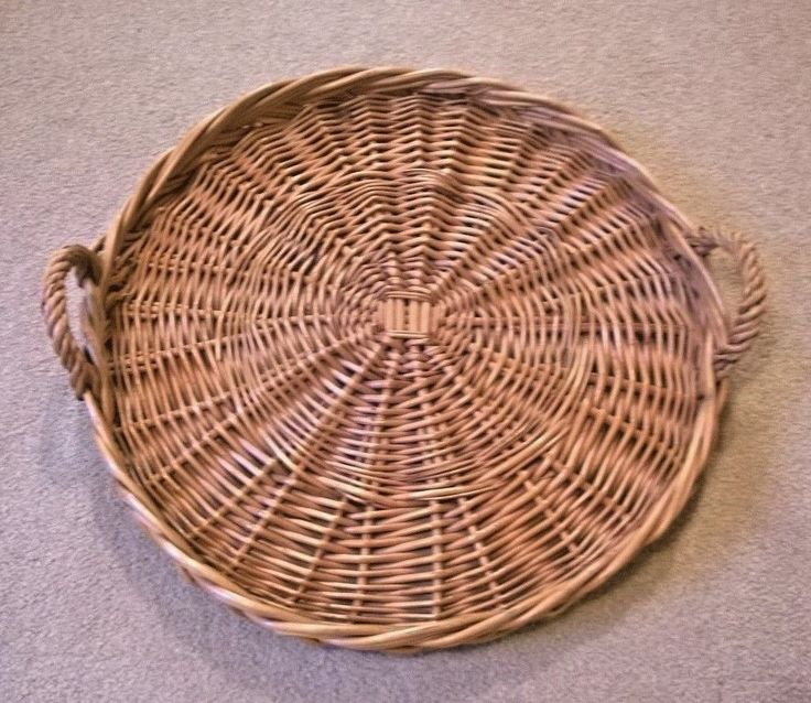 Vintage Round Wicker Serving Tray With Handles Diameter 33 cm (13 inches) Approx