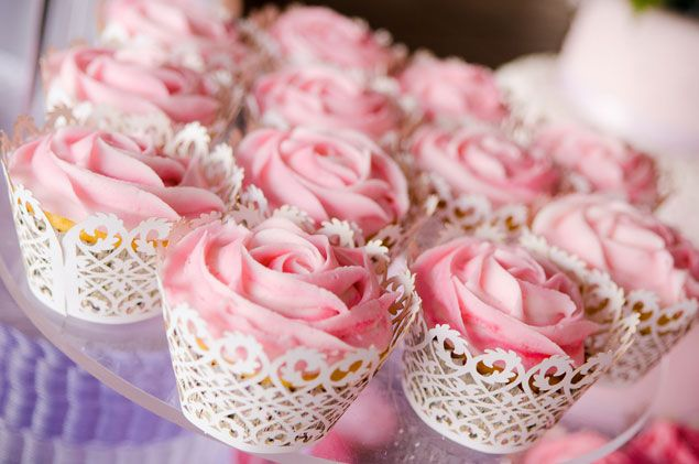 Pink Wedding Cupcakes - PHOTO SOURCE • BOUNCING LIGHT PHOTOGRAPHY | Featured on WedLoft