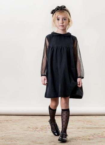 Tocoto Vintage Girls Tulle Dress in Grey