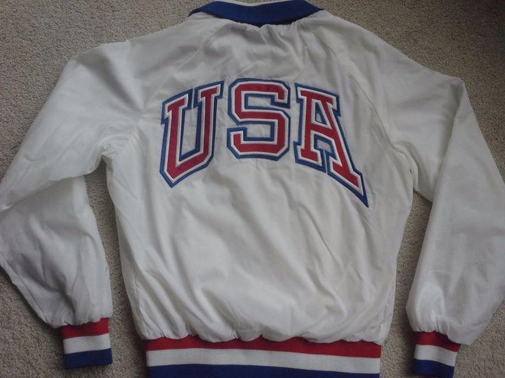 Vtg 1992 Olympic USA satin white varsity jacket team 1988 Artex dream coat S #Artex #USA