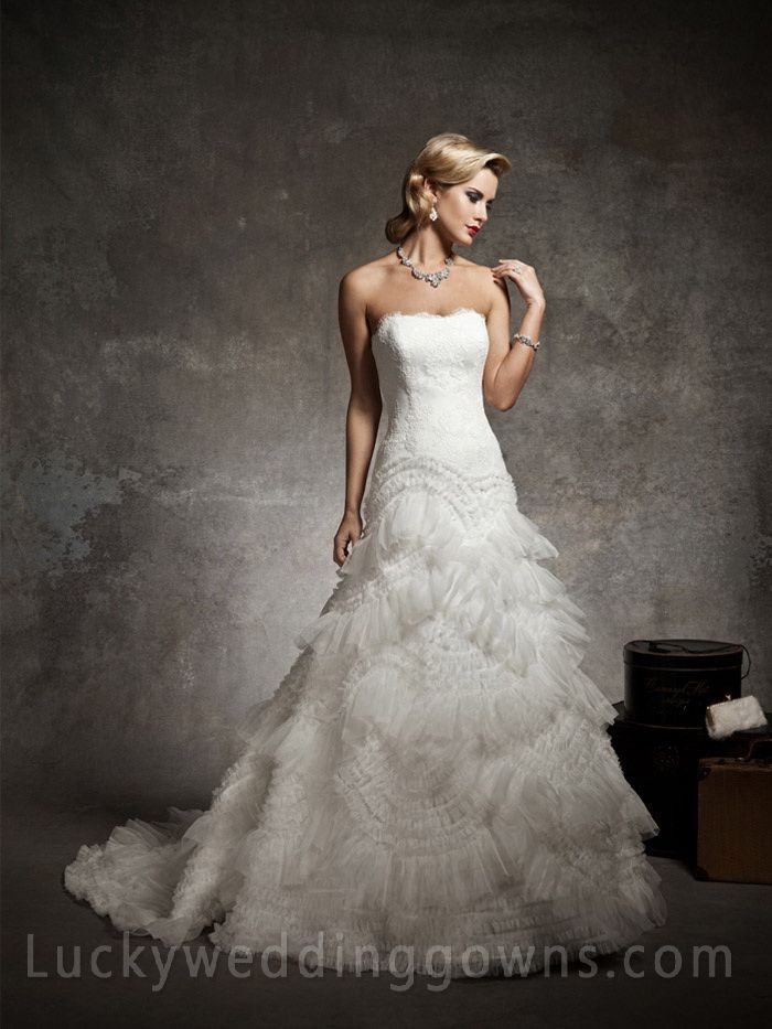 Exclusive Designer Strapless Low Back Wedding Dress with Train and Ruffle Skirt