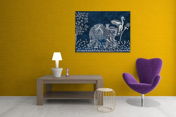 A Day of a Kingly Elephant in His Royal Palace Canvas. #canvas #holiday #gifts #christmas #handmade #handdesigned #lineart #zentangle #indiaart #buynow #royal #paintings #blue