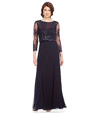 Cachet illusion beaded popover gown dillards mother of for Dillards wedding dresses mother of the bride