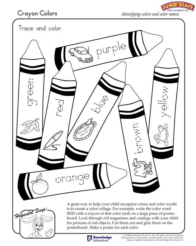 crayon colors kindergarten coloring worksheets jumpstart