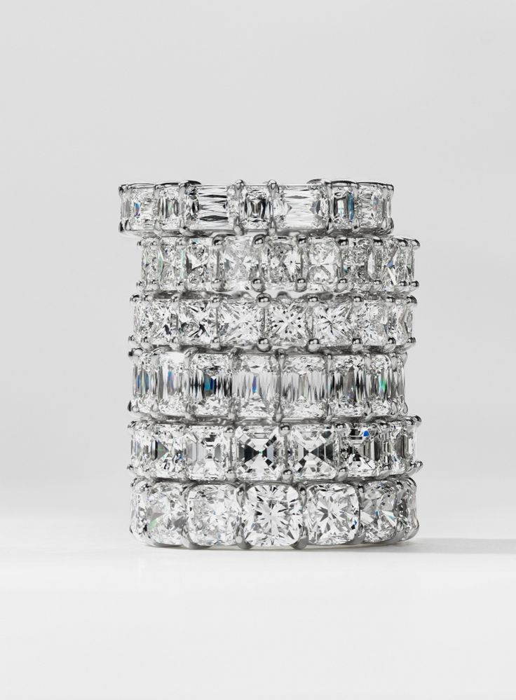 Extraordinary scintillation, these diamond eternity rings showcase a combination of perfectly matched diamonds set in enduring platinum. #BePlatinum