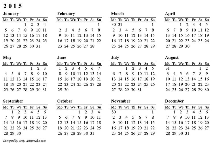Calendar 2015, Weeks Are In Rows, Start