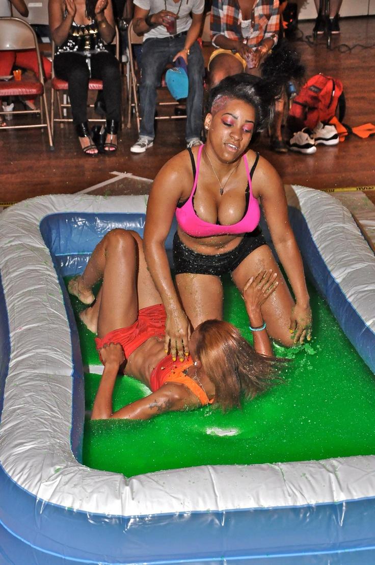Girls wreatling in pool words... interesting