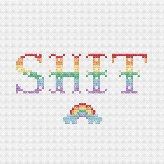 This nsfw cross stitch kit makes a funny wall hanging or the perfect gag gift. Color guides for both bright (first 2 photos) and pastel colors.