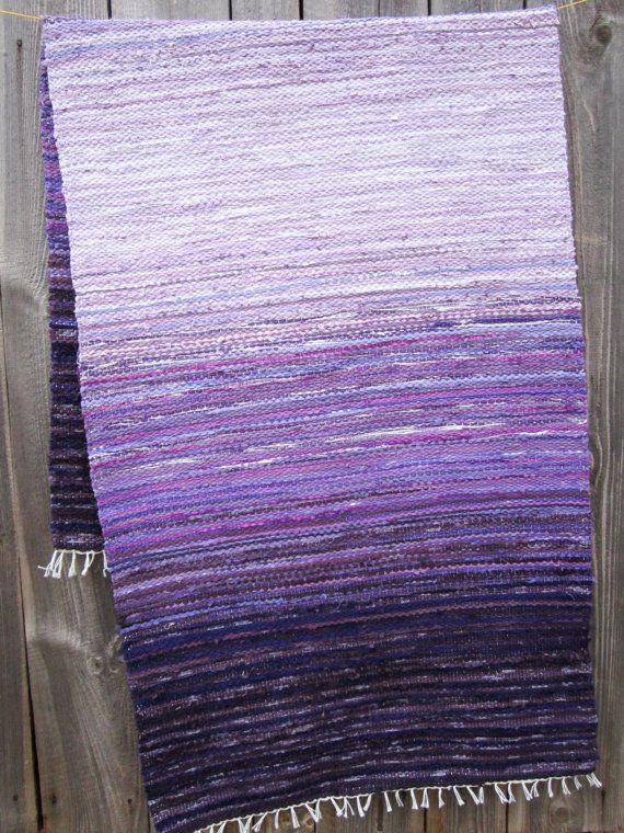long Handwoven rag rug 6.97' 2.53' purple lilac by Gunaspalete