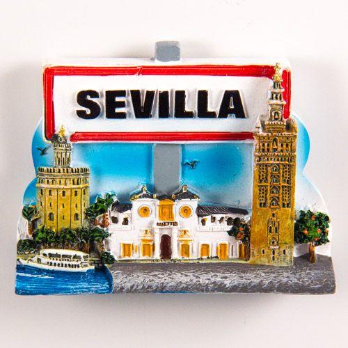 Resin Fridge Magnet: Spain. Seville Collage and Road Sign