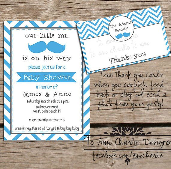 Printable Mustache Baby Shower Invitation & Free Thank You Cards by TeAmoCharlie, $14.00 #etsy #teamocharlie #printable #mustache #babyshower #invitation #shower #chevron
