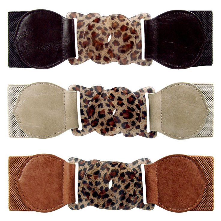 Elasticated belt with plastic leopard buckle