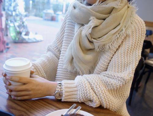 Cream big sweater + scarf + coffee
