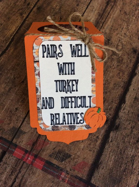 Thanksgiving wine bottle tag-set of 3 tags by CupcaitsPartyDecor