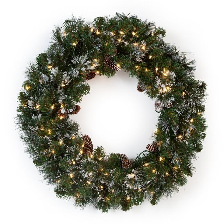 30 in. Glittery Pine Pre-lit Wreath with 100 lights $55