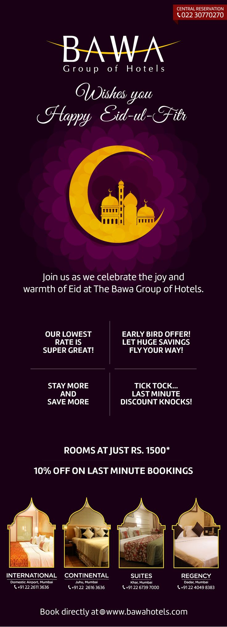 Celebrate this Eid with the Bawa Group of Hotels. // Take advantage of the incredible offers we have for you this festive season.