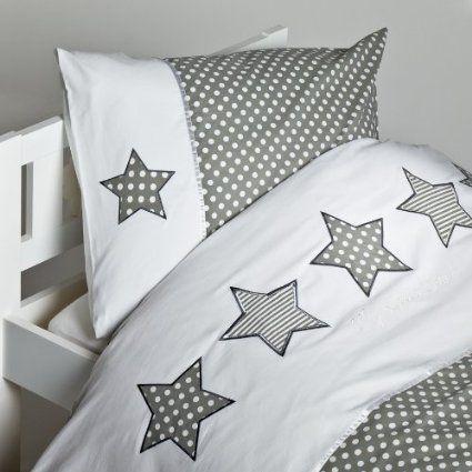 exklusive Babybettwäsche für Jungen Baumwolle 100x135 cm 40x60 cm mit Sternen grau weiß