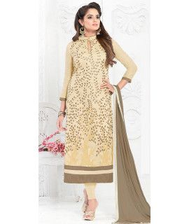 Heartily Cream Cotton Salwar Suit.