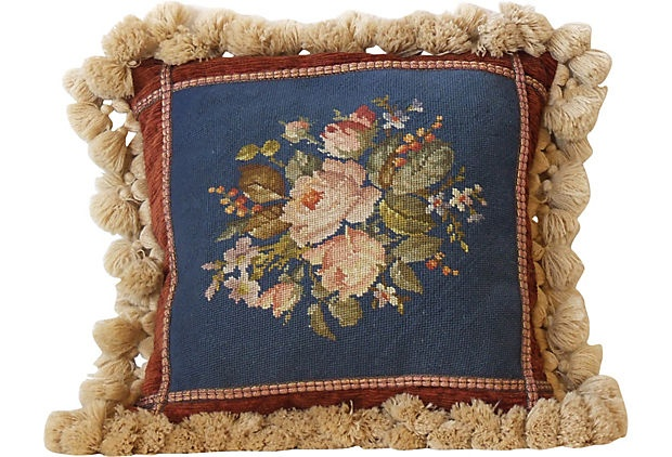 Floral Pillow w/ Antique Needlepoint
