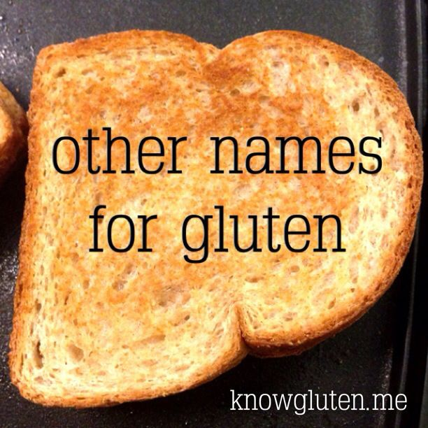 This is the place you want to start your journey. If you're going to go gluten free, you need to know what to watch out for. Here is a quick and easy to read list of the other names for gluten.