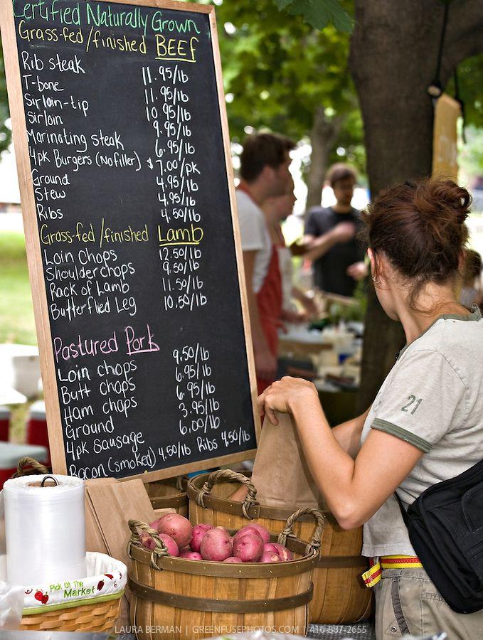 farmers market blackboard with food prices, Trinity