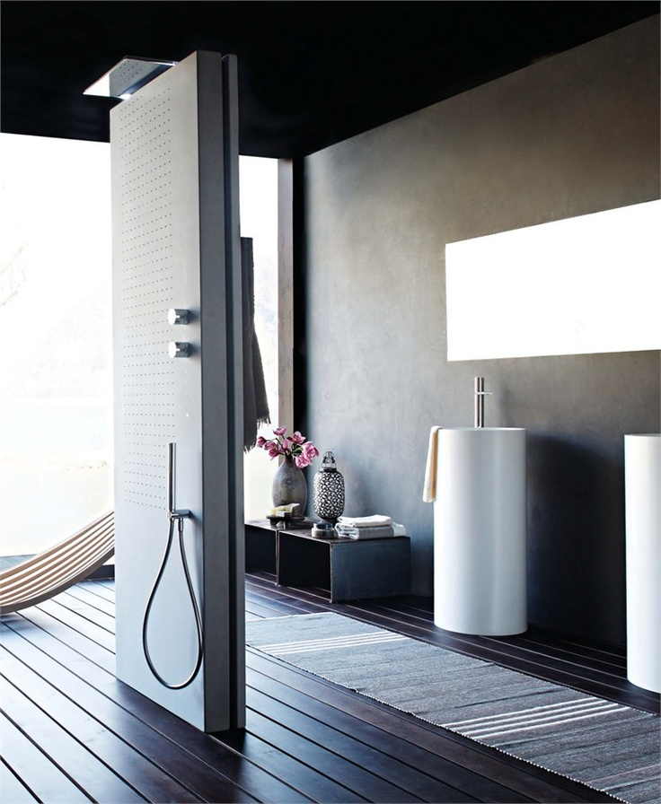 Multifunction thermostatic LED #shower column ACQUAPURA by Fantini Rubinetti #bathroom
