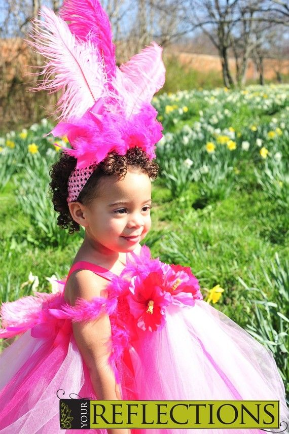 Infant Toddler Pink Flamingo Tutu Dress And Feather