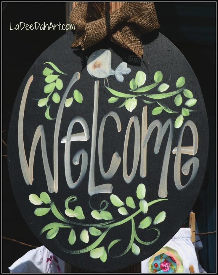 Wooden Oval Welcome Door Hanger with Bird and by ladeedahart