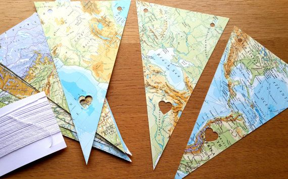 World Map Bunting  8 FT + , 16 Pennants Bunting- World Map Garland / Travel Theme Wedding - Map Decor - Bon Voyage Party- Wedding Bunting