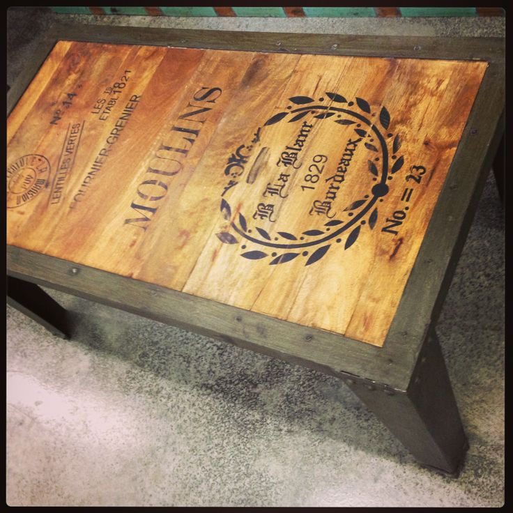 French Script Coffee Table Industrial Wood And Metal