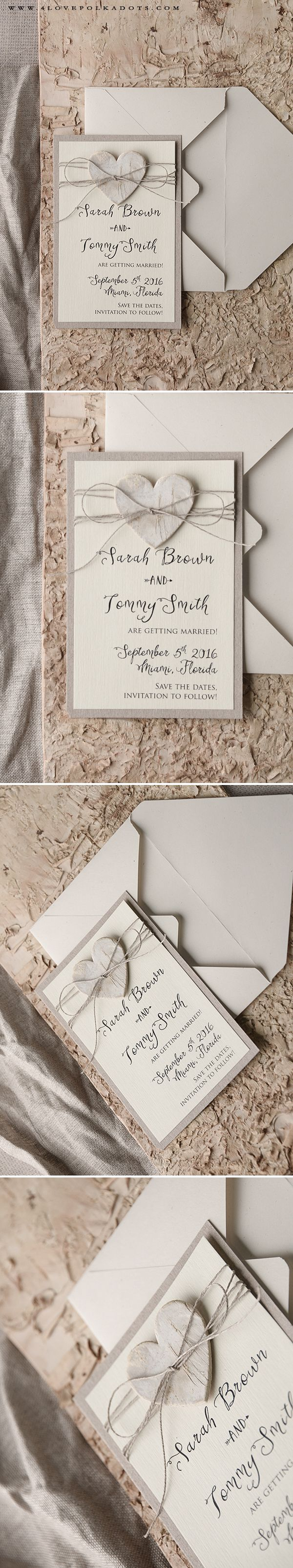 Save the Date Card with Birch Bark Heart on Twine #weddingideas #boho #rustic