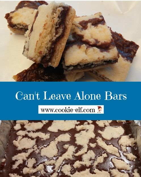 Can't Leave Alone Bars - an easy cake mix cookie recipe for bars from The Cookie Elf 1 package white cake mix (regular size), any brand  2 eggs    1/3 cup canola oil  1 can (14 ounces) sweetened condensed milk (not evaporated milk)  1 cup (6 ounces) semisweet chocolate chips  1/4 cup butter or margarine, cubed