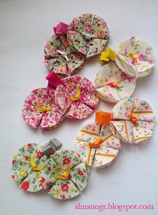 Handmade hairpins with fabric flowers #hairclips #handmadehairclips #almanogr