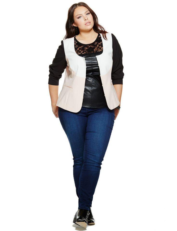 Colorblock Blazer | Women's Plus Size Coats + Jackets