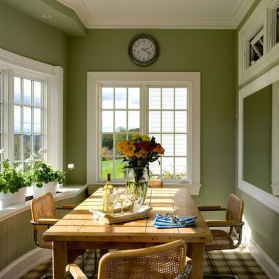 Oooh...loving this as inspiration for my kitchen.  So homey! Green kitchen walls