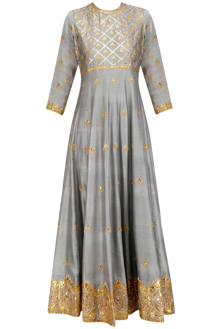 grey flared kalidaar anarkali kurta in cotton silk chanderi base with gold jaal pattern embroidery