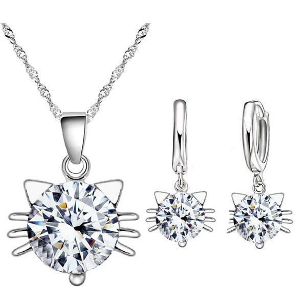 This cute, austria crystal cat pendant necklace & earring set is stunning and fun!  You can also buy these pieces individually too.  This set is purrfect to wear with your favorite outfit and it also makes a great gift so make sure you order an extra set today!