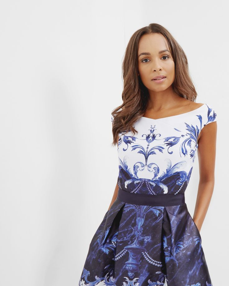 Bardot-Top mit Persian Blue-Print - Dunkelblau | Tops und T-Shirts | Ted Baker DE